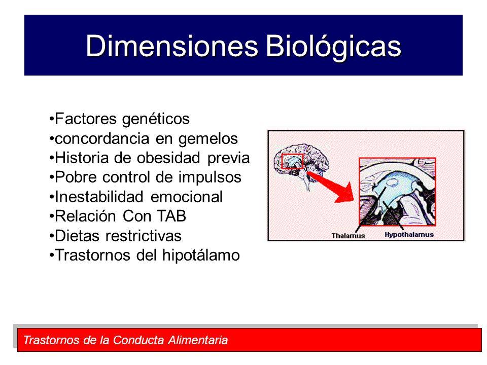 Trastornos de la Conducta Alimentaria Dimensiones Biológicas Factores genéticos concordancia en gemelos Historia de obesidad previa Pobre control de i