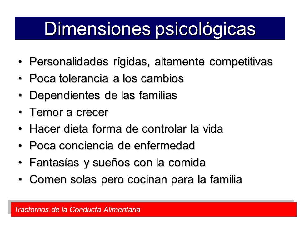 Trastornos de la Conducta Alimentaria Dimensiones psicológicas Personalidades rígidas, altamente competitivasPersonalidades rígidas, altamente competi