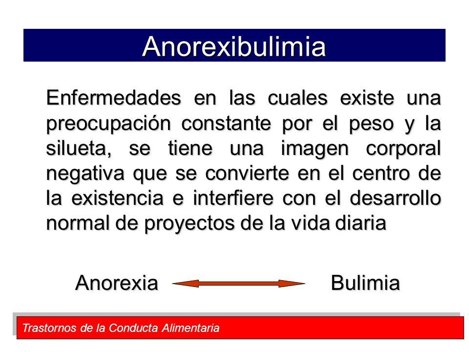 Trastornos de la Conducta Alimentaria Anorexibulimia Enfermedades en las cuales existe una preocupación constante por el peso y la silueta, se tiene u