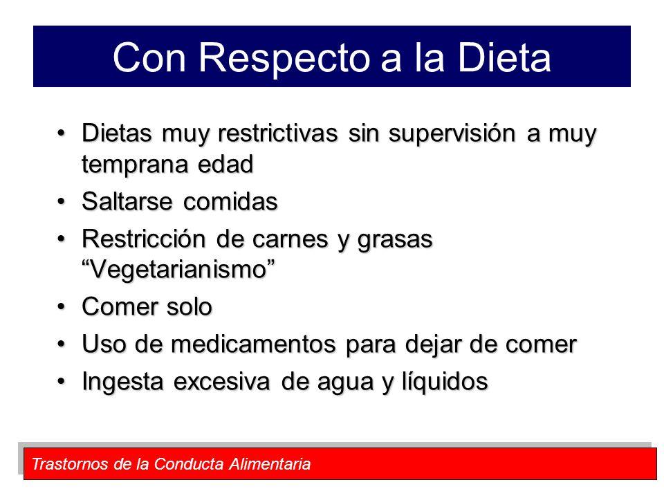 Trastornos de la Conducta Alimentaria Con Respecto a la Dieta Dietas muy restrictivas sin supervisión a muy temprana edadDietas muy restrictivas sin s