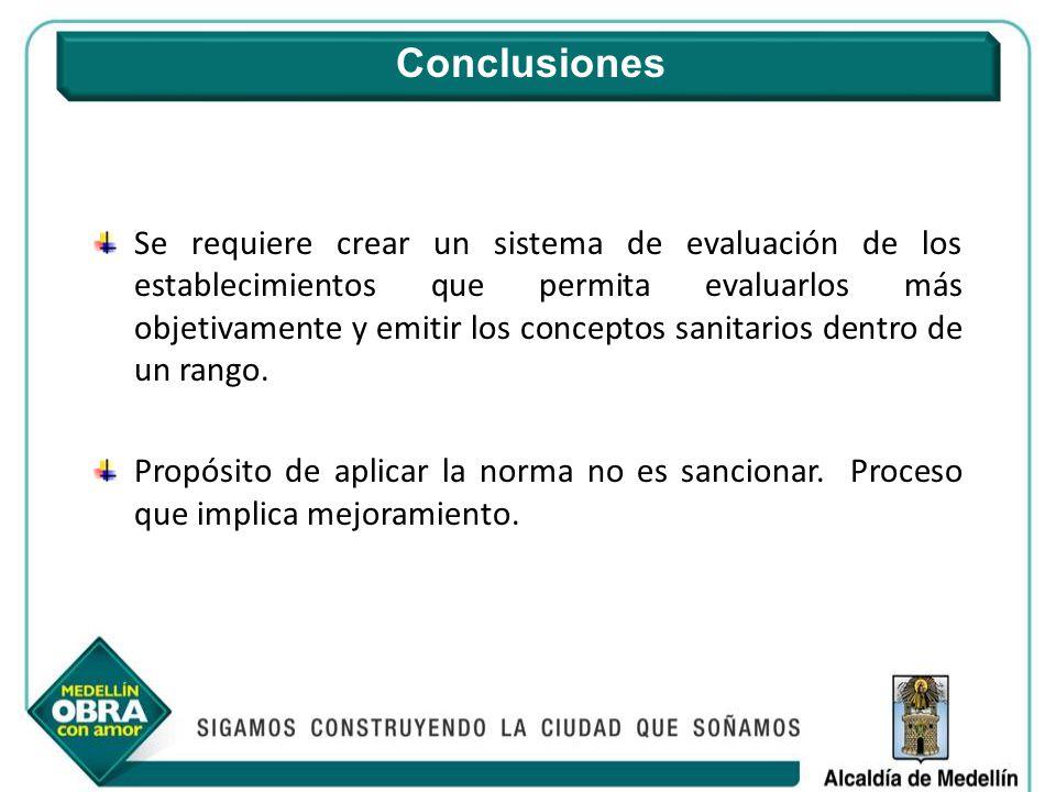 Se requiere crear un sistema de evaluación de los establecimientos que permita evaluarlos más objetivamente y emitir los conceptos sanitarios dentro d