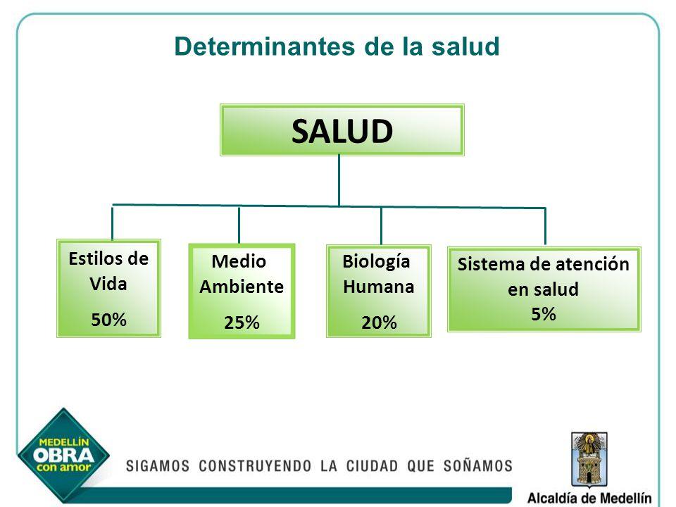 Determinantes de la salud Biología Humana 20% Sistema de atención en salud 5% SALUD Medio Ambiente 25% Estilos de Vida 50%