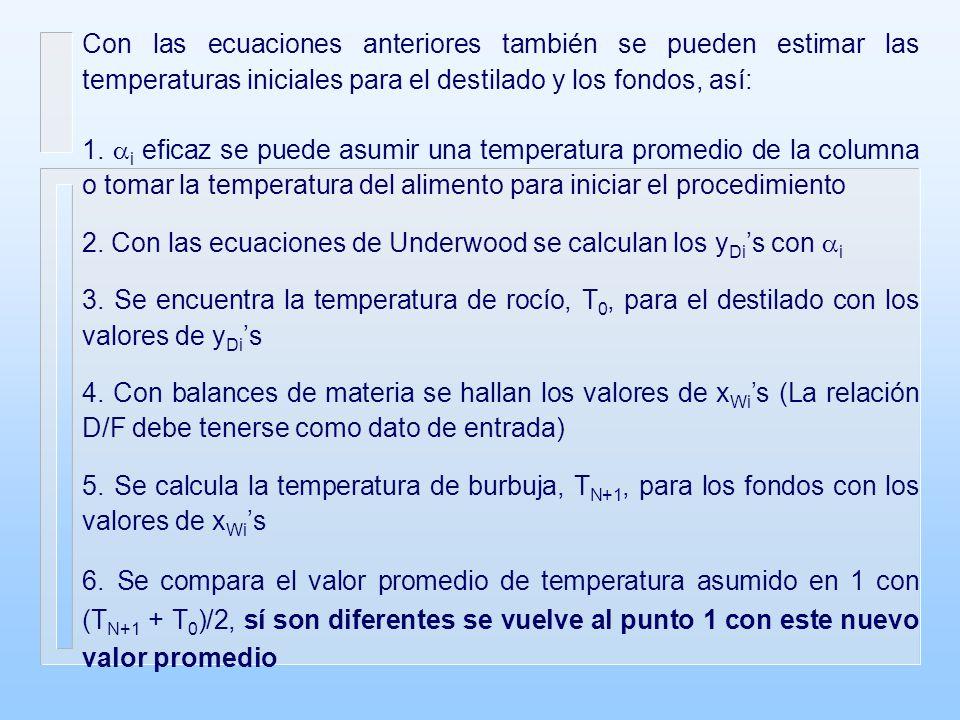 Con las ecuaciones anteriores también se pueden estimar las temperaturas iniciales para el destilado y los fondos, así: 1.