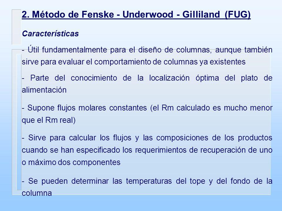 2. Método de Fenske - Underwood - Gilliland (FUG) Características - Útil fundamentalmente para el diseño de columnas, aunque también sirve para evalua