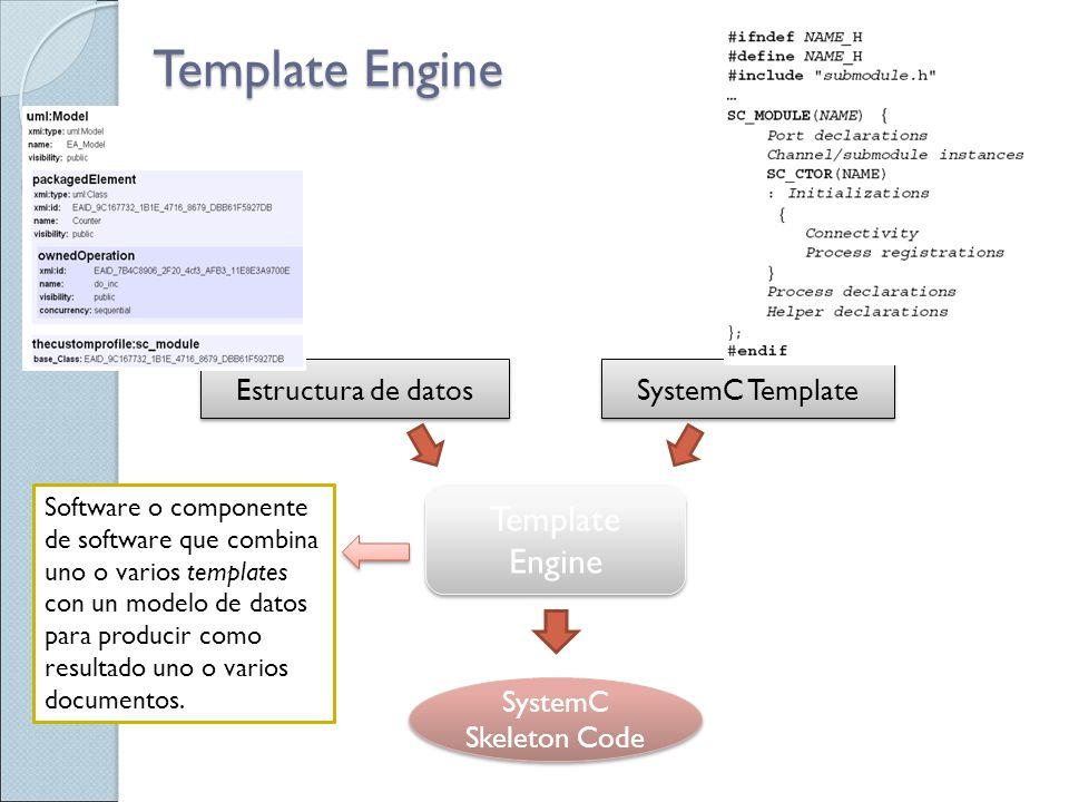 Template Engine Software o componente de software que combina uno o varios templates con un modelo de datos para producir como resultado uno o varios