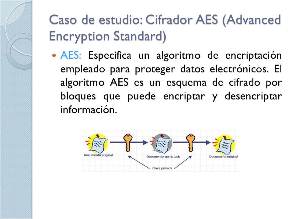 Caso de estudio: Cifrador AES (Advanced Encryption Standard) AES: Especifica un algoritmo de encriptación empleado para proteger datos electrónicos. E