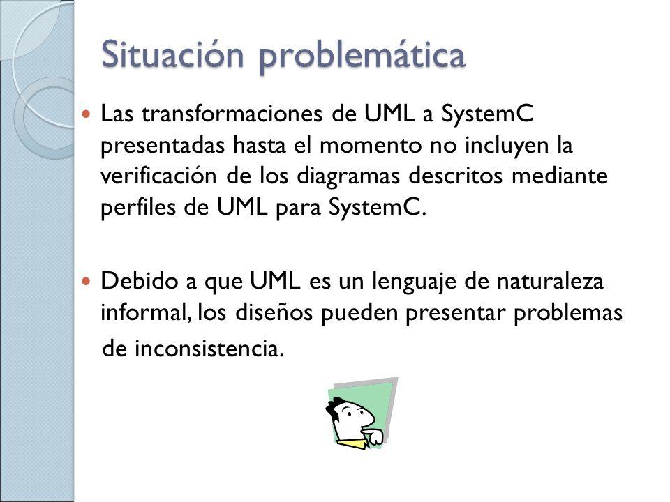 Situación problemática Las transformaciones de UML a SystemC presentadas hasta el momento no incluyen la verificación de los diagramas descritos media