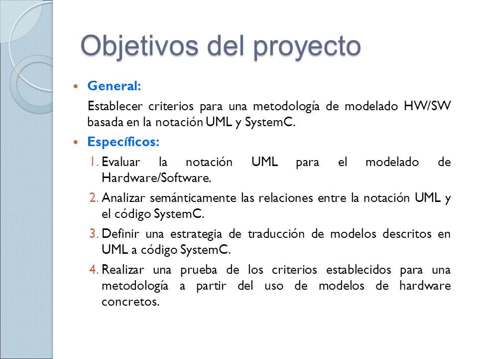 Objetivos del proyecto General: Establecer criterios para una metodología de modelado HW/SW basada en la notación UML y SystemC. Específicos: 1.Evalua