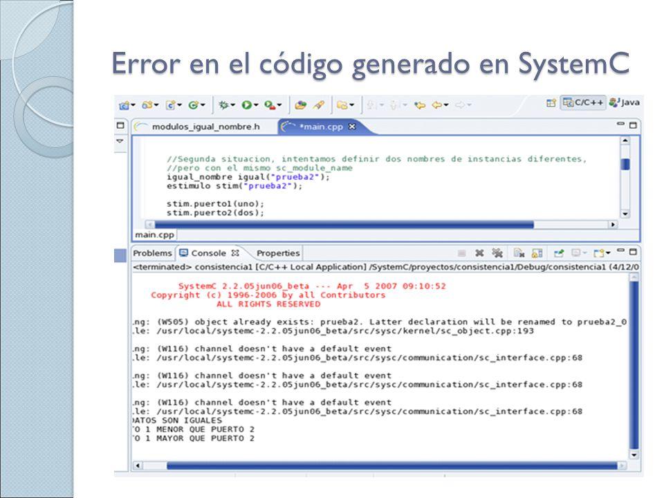 Error en el código generado en SystemC