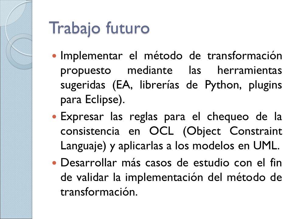 Trabajo futuro Implementar el método de transformación propuesto mediante las herramientas sugeridas (EA, librerías de Python, plugins para Eclipse).