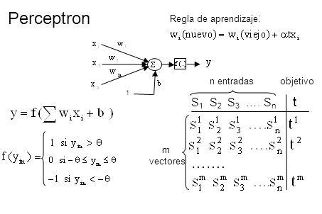 Perceptron 1 S 1 S 2 S 3 …. S n t ……. m vectores n entradas objetivo Regla de aprendizaje :