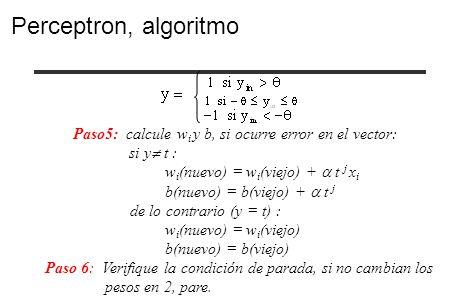 Paso5: calcule w i y b, si ocurre error en el vector: si y t : w i (nuevo) = w i (viejo) + t j x i b(nuevo) = b(viejo) + t j de lo contrario (y = t) :