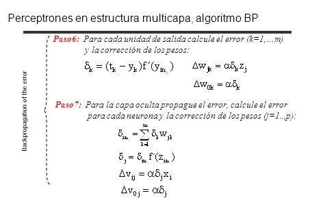 Paso6: Para cada unidad de salida calcule el error (k=1,…m) y la corrección de los pesos: Paso7: Para la capa oculta propague el error, calcule el err
