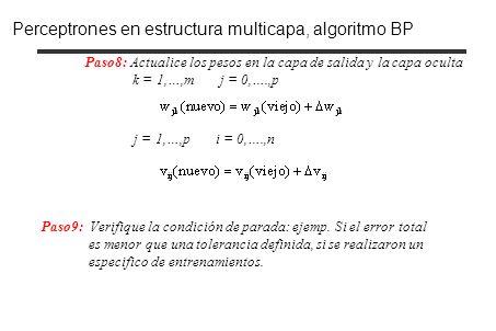 Paso8: Actualice los pesos en la capa de salida y la capa oculta k = 1,…,m j = 0,….,p j = 1,…,p i = 0,….,n Paso9: Verifique la condición de parada: ej