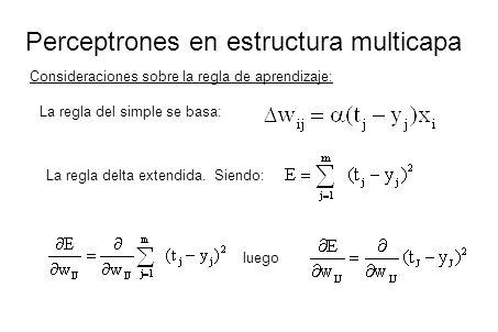 Perceptrones en estructura multicapa Consideraciones sobre la regla de aprendizaje: La regla del simple se basa: La regla delta extendida. Siendo: lue