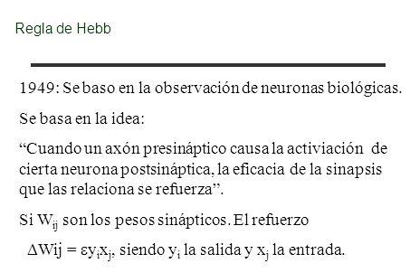 Regla de Hebb 1949: Se baso en la observación de neuronas biológicas. Se basa en la idea: Cuando un axón presináptico causa la activiación de cierta n