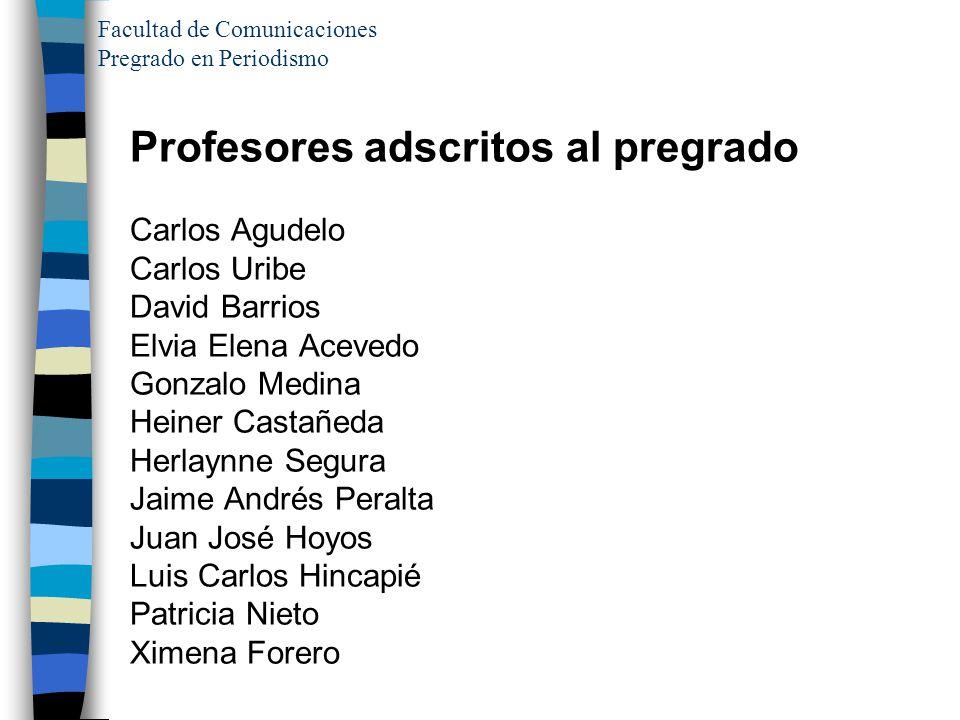 Facultad de Comunicaciones Pregrado en Periodismo Profesores adscritos al pregrado Carlos Agudelo Carlos Uribe David Barrios Elvia Elena Acevedo Gonza