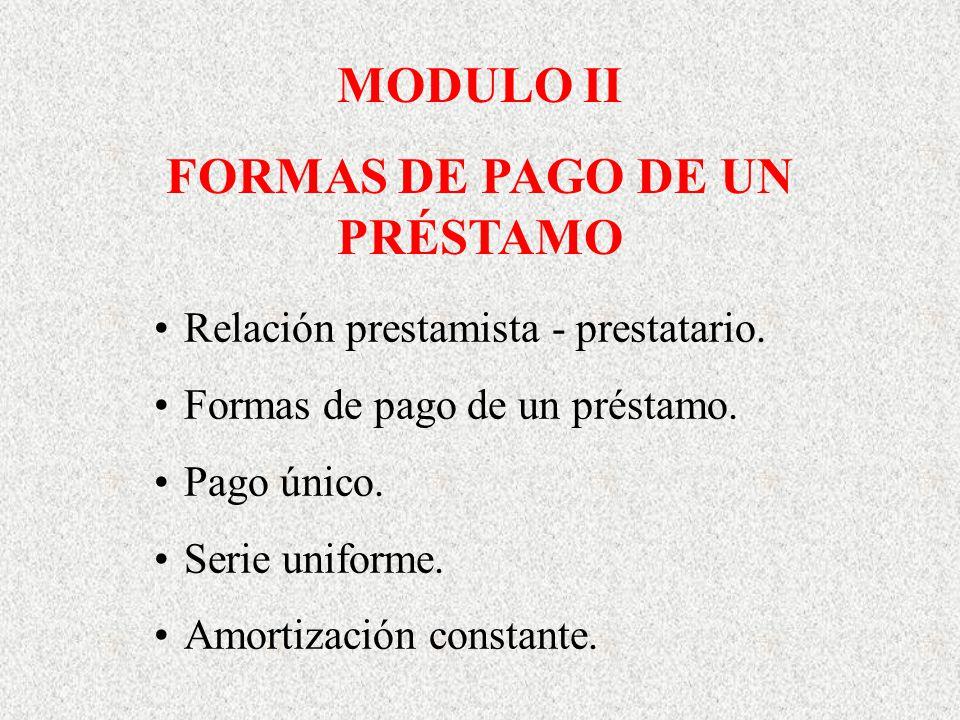 MODULO II FORMAS DE PAGO DE UN PRÉSTAMO Relación prestamista - prestatario. Formas de pago de un préstamo. Pago único. Serie uniforme. Amortización co