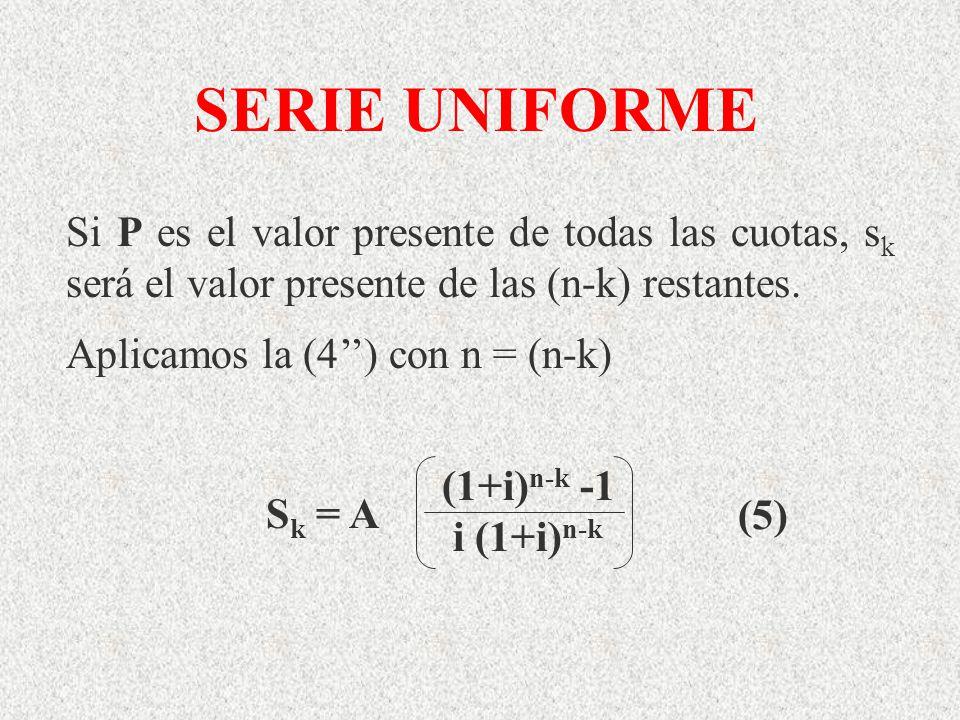 SERIE UNIFORME Si P es el valor presente de todas las cuotas, s k será el valor presente de las (n-k) restantes. Aplicamos la (4) con n = (n-k) S k =