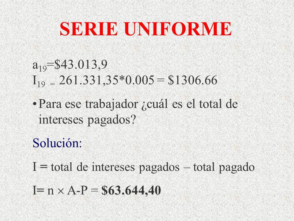 a 19 =$43.013,9 I 19 = 261.331,35*0.005 = $1306.66 Para ese trabajador ¿cuál es el total de intereses pagados? Solución: I = total de intereses pagado