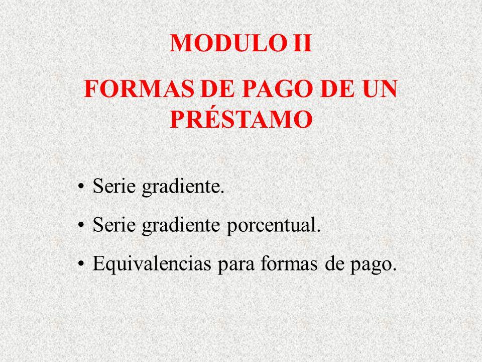 MODULO II FORMAS DE PAGO DE UN PRÉSTAMO Serie gradiente. Serie gradiente porcentual. Equivalencias para formas de pago.