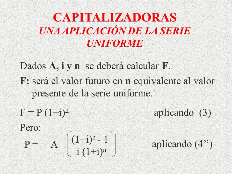 CAPITALIZADORAS UNA APLICACIÓN DE LA SERIE UNIFORME Dados A, i y n se deberá calcular F. F: será el valor futuro en n equivalente al valor presente de
