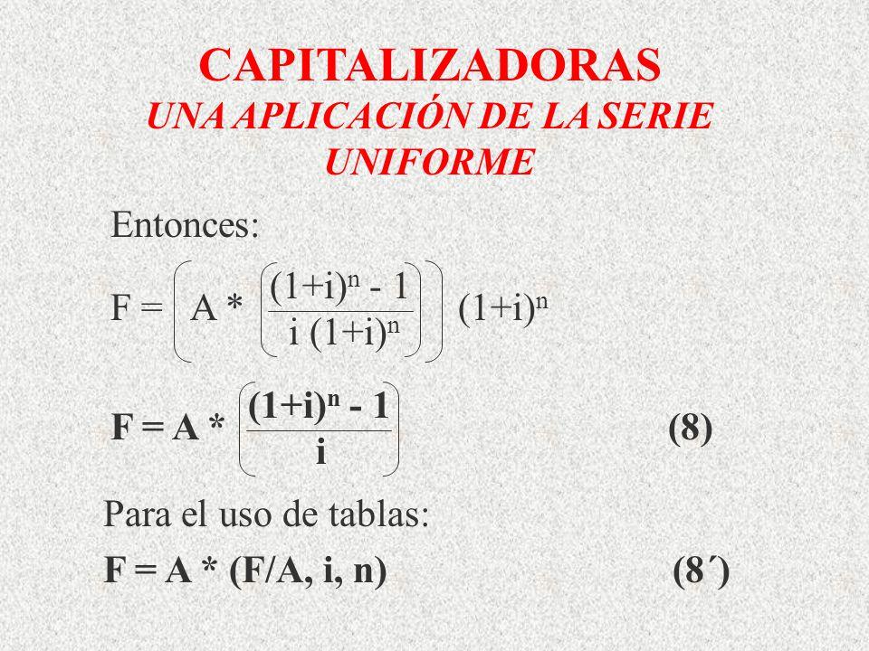 CAPITALIZADORAS UNA APLICACIÓN DE LA SERIE UNIFORME (1+i) n - 1 i (1+i) n F = A *(1+i) n Entonces: (1+i) n - 1 i F = A *(8) Para el uso de tablas: F =