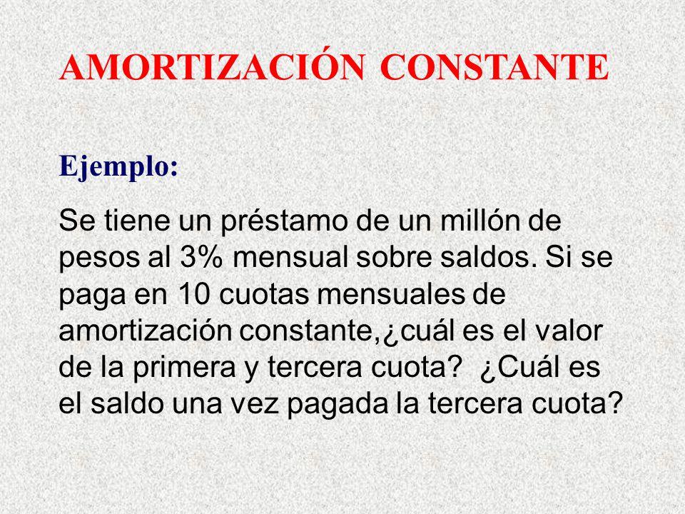 AMORTIZACIÓN CONSTANTE Ejemplo: Se tiene un préstamo de un millón de pesos al 3% mensual sobre saldos. Si se paga en 10 cuotas mensuales de amortizaci