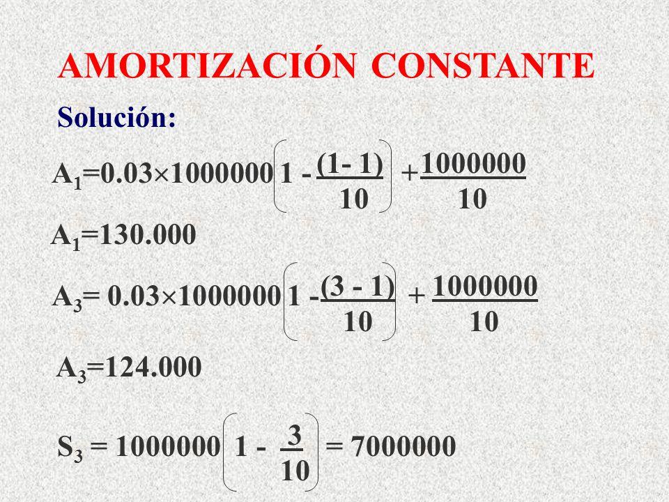 AMORTIZACIÓN CONSTANTE A 3 = 0.03 1000000 1 - + (3 - 1) 1000000 10 10 A 3 =124.000 S 3 = 1000000 1 - = 7000000 3 10 A 1 =0.03 1000000 1 - + (1- 1) 100