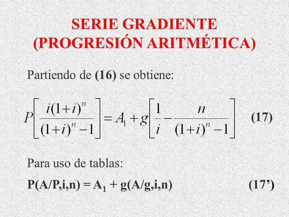 SERIE GRADIENTE (PROGRESIÓN ARITMÉTICA) Para uso de tablas: P(A/P,i,n) = A 1 + g(A/g,i,n) (17) (17) Partiendo de (16) se obtiene: