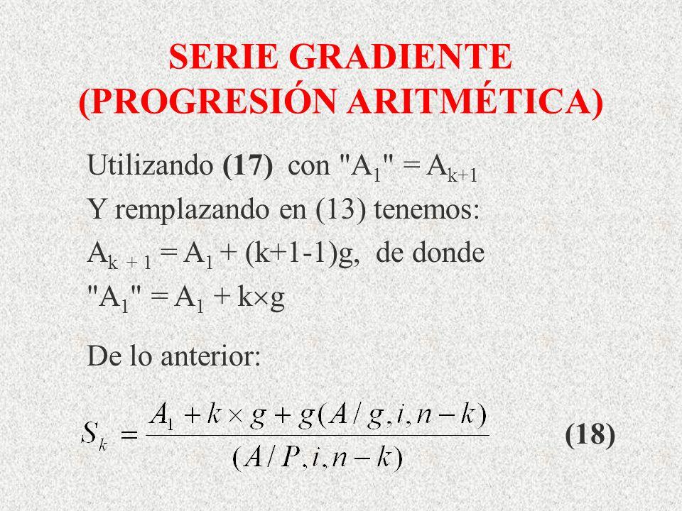 SERIE GRADIENTE (PROGRESIÓN ARITMÉTICA) Utilizando (17) con