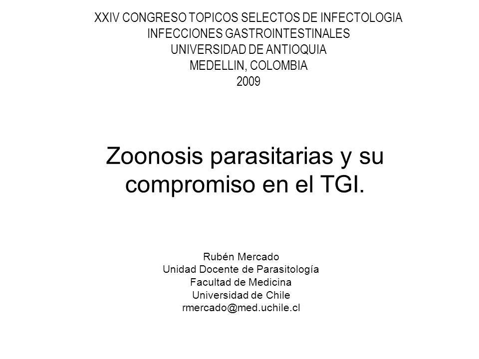 Enteroparásitos de transmisión zoonótica EnteroparásitoTransmisión Zoonótica Principal Manifestación TGI Animales participantes en la transmisión Protozoo Blastocystis hominisEn estudio Domésticos (porcinos, aves) Giardia intestinalisEn estudioDiarreaDomésticos (perros, gatos) y silvestres (castores) Cryptosporidium spp.SiDiarreaDomésticos (bovinos) Nematodo Ascaris spp.Debe estudiarseNingunaPorcinos Trichuris spp.Debe estudiarseNingunaPorcinos AnisakidosSiExpulsión de la larvaMamíferos marinos Cestodo Taenia soliumSiEliminación de proglótidas Porcinos Taenia saginataSiEliminación de proglótidas Bovinos Diphyllobothrium spp.SiEliminacion de proglótidas Animales ictiófagos.