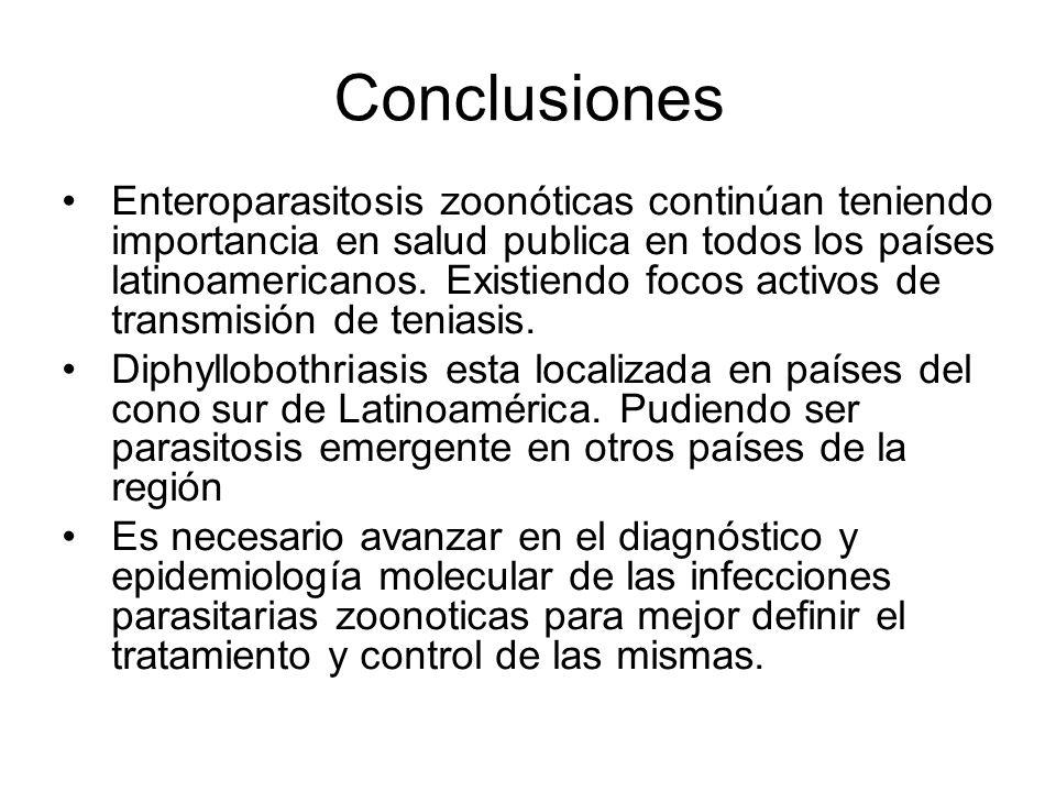Conclusiones Enteroparasitosis zoonóticas continúan teniendo importancia en salud publica en todos los países latinoamericanos. Existiendo focos activ