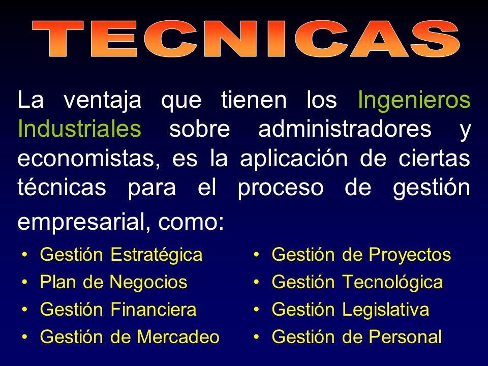 La ventaja que tienen los Ingenieros Industriales sobre administradores y economistas, es la aplicación de ciertas técnicas para el proceso de gestión