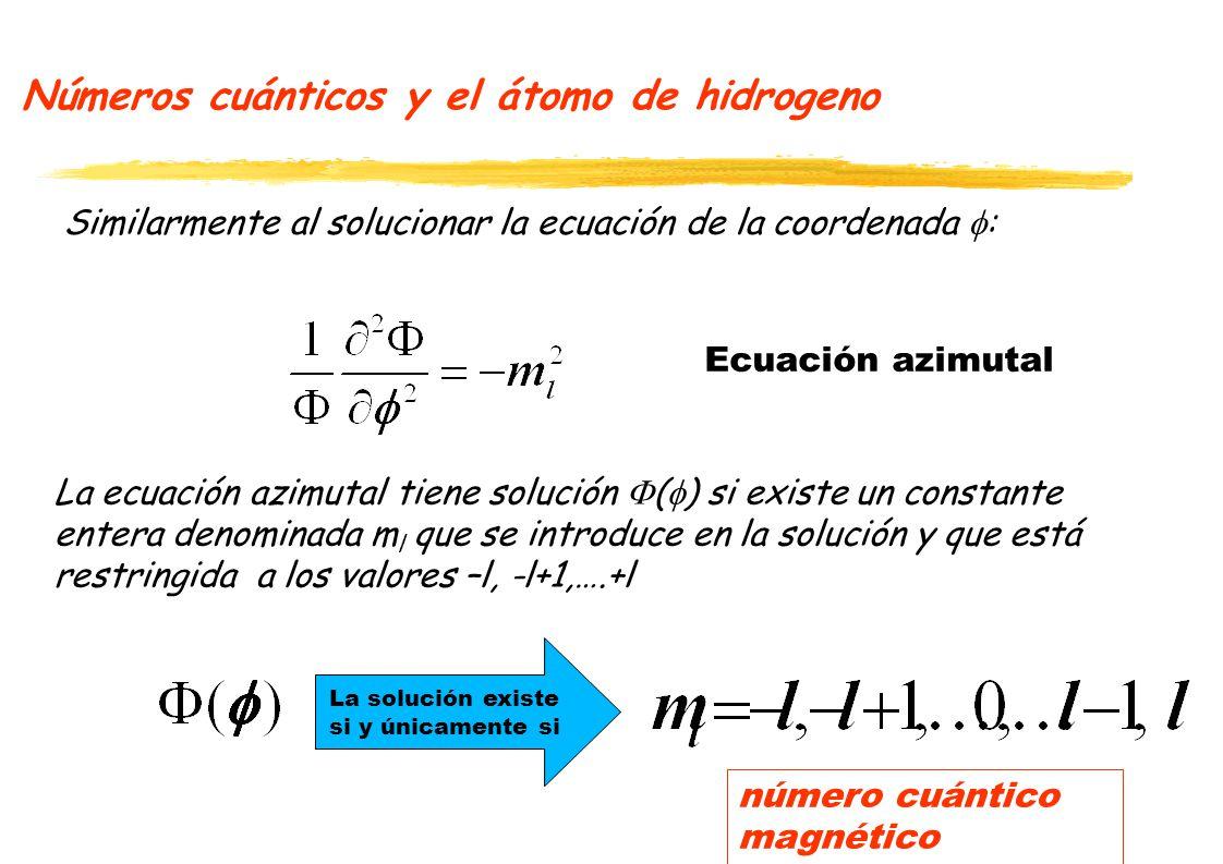 Números cuánticos y el átomo de hidrogeno Similarmente al solucionar la ecuación de la coordenada : La solución existe si y únicamente si La ecuación