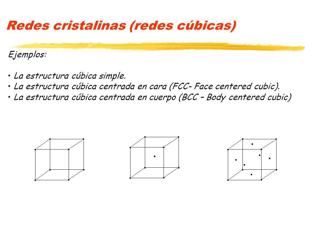 Redes cristalinas (redes cúbicas) Ejemplos: La estructura cúbica simple. La estructura cúbica centrada en cara (FCC- Face centered cubic). La estructu