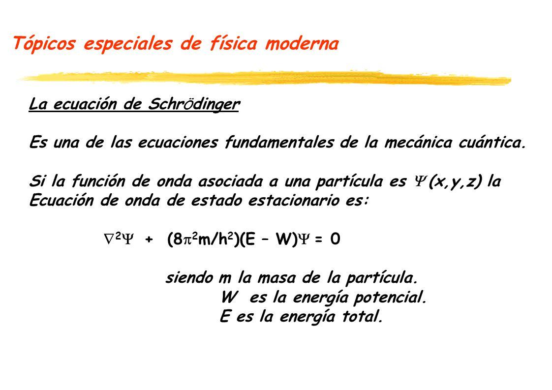Tópicos especiales de física moderna La ecuación de Schr Ö dinger Es una de las ecuaciones fundamentales de la mecánica cuántica. Si la función de ond
