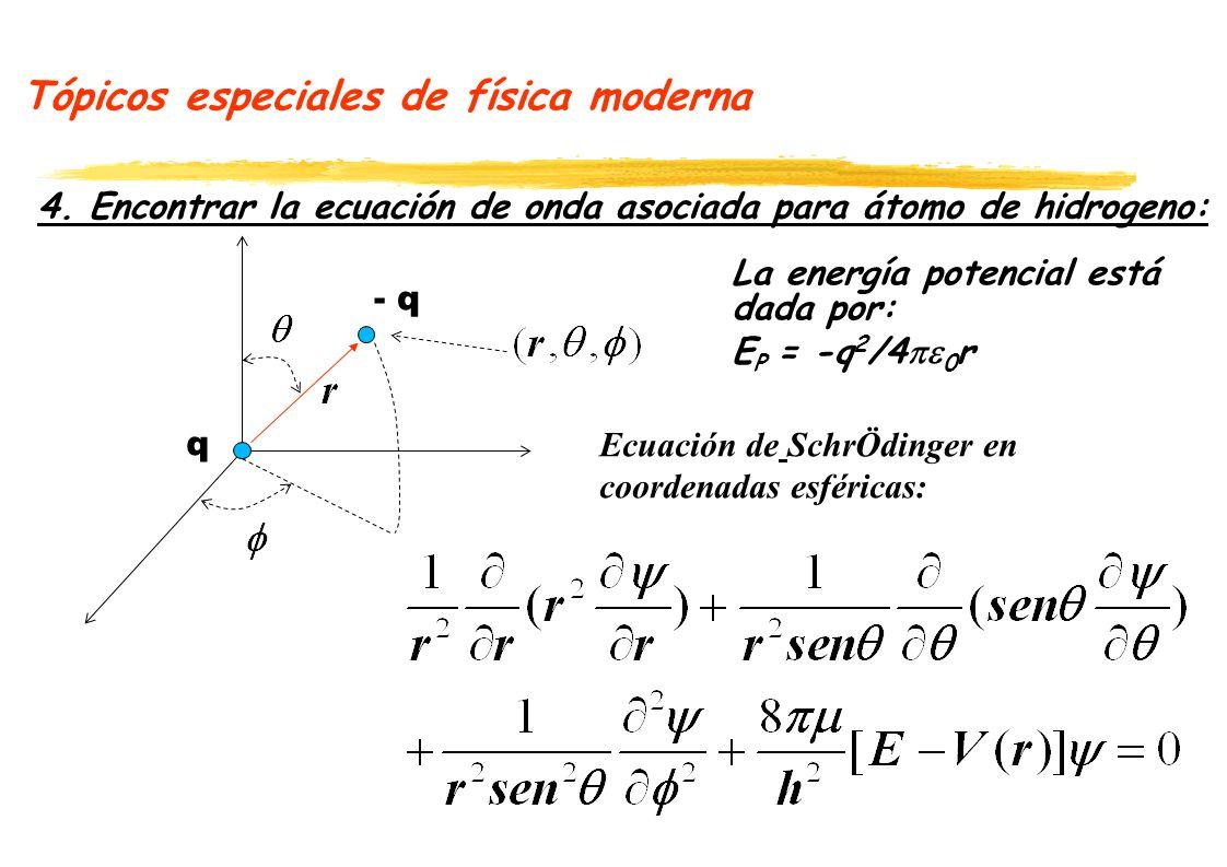 Tópicos especiales de física moderna 4. Encontrar la ecuación de onda asociada para átomo de hidrogeno: - q q Ecuación de SchrÖdinger en coordenadas e