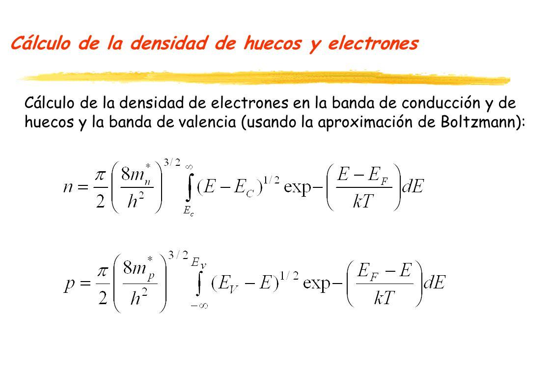 Cálculo de la densidad de huecos y electrones Cálculo de la densidad de electrones en la banda de conducción y de huecos y la banda de valencia (usando la aproximación de Boltzmann):