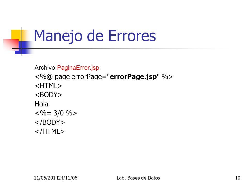11/06/201424/11/06Lab. Bases de Datos10 Manejo de Errores Archivo PaginaError.jsp: Hola