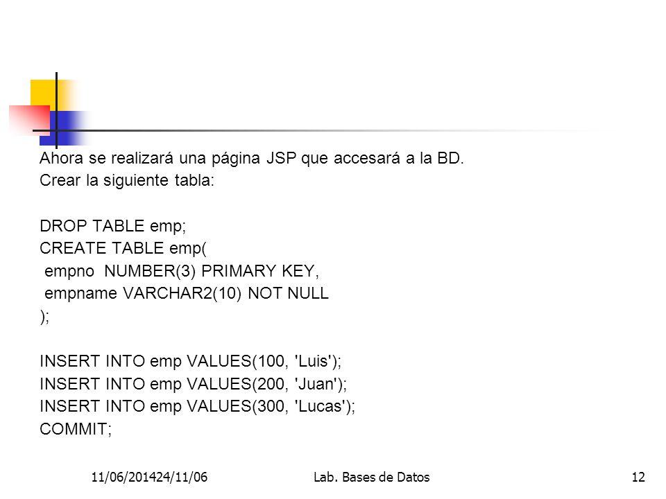 11/06/201424/11/06Lab. Bases de Datos12 Ahora se realizará una página JSP que accesará a la BD.