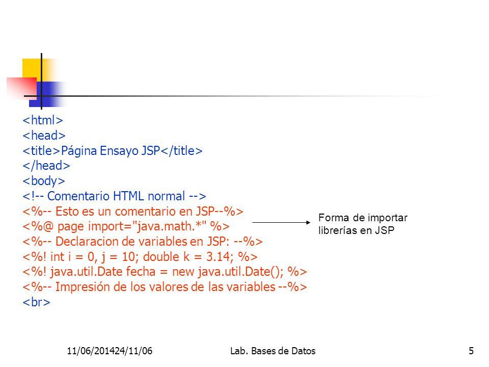 11/06/201424/11/06Lab. Bases de Datos5 Página Ensayo JSP Forma de importar librerías en JSP