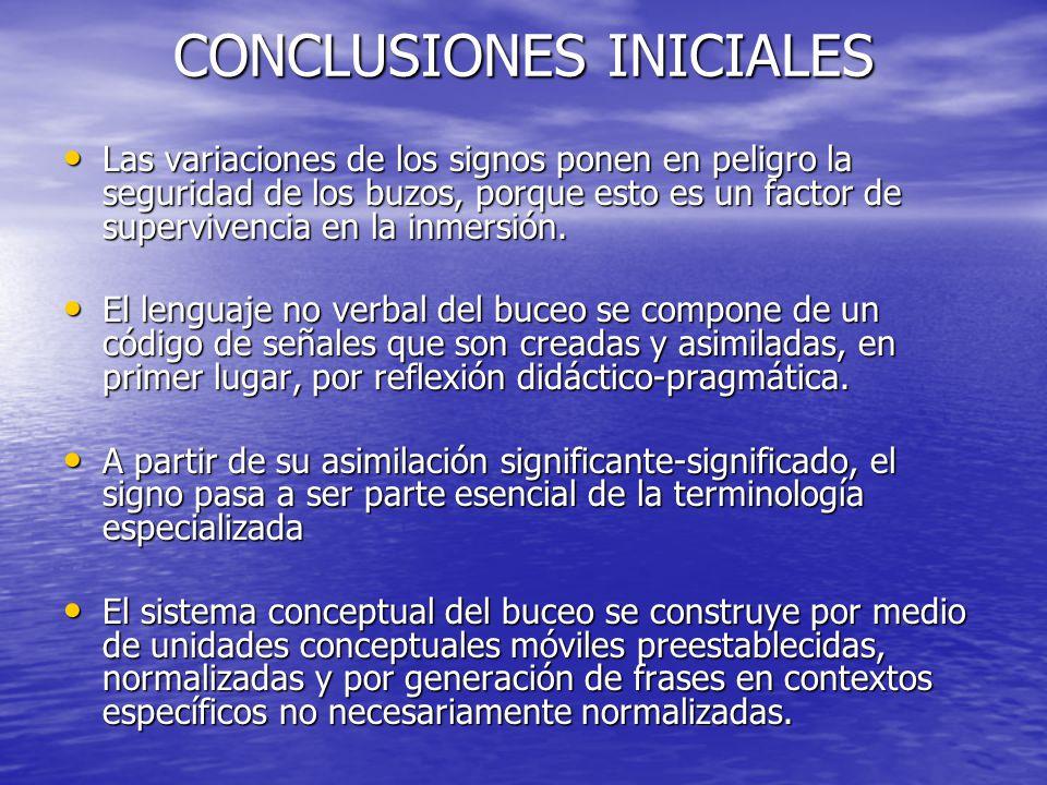 CONCLUSIONES INICIALES Lenguaje no verbal del buceo es un lenguaje de especialidad. Lenguaje no verbal del buceo es un lenguaje de especialidad. Cuand