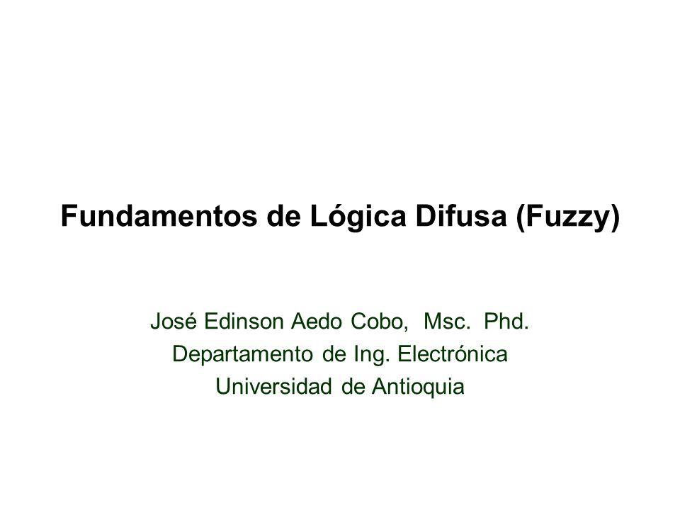 Fundamentos de Lógica Difusa (Fuzzy) José Edinson Aedo Cobo, Msc.