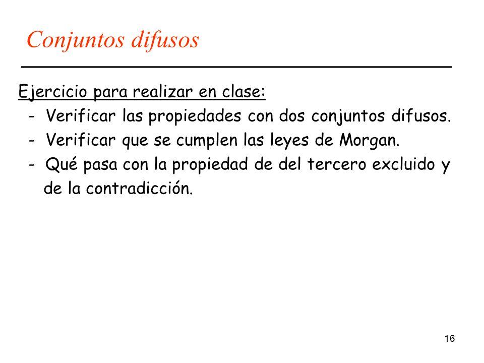 16 Ejercicio para realizar en clase: - Verificar las propiedades con dos conjuntos difusos. - Verificar que se cumplen las leyes de Morgan. - Qué pasa