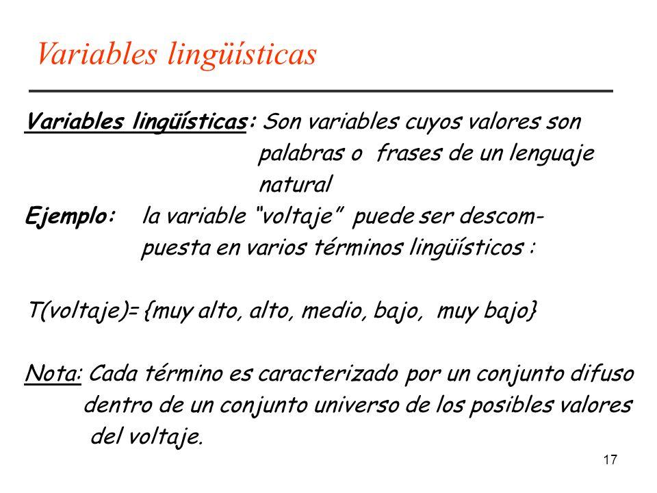 17 Variables lingüísticas: Son variables cuyos valores son palabras o frases de un lenguaje natural Ejemplo: la variable voltaje puede ser descom- pue