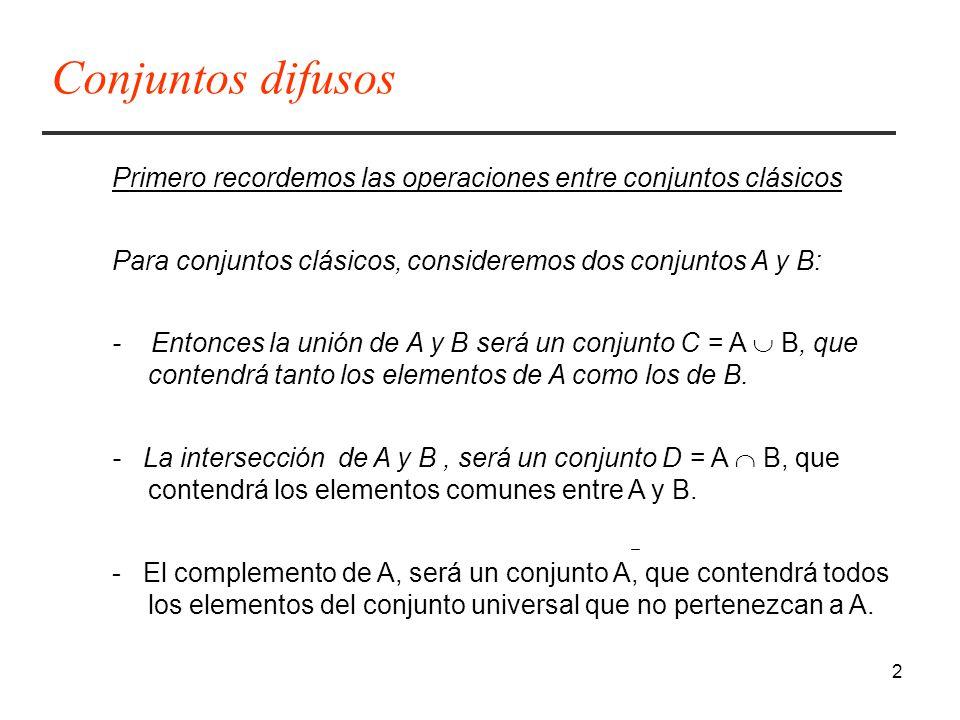 2 Primero recordemos las operaciones entre conjuntos clásicos Para conjuntos clásicos, consideremos dos conjuntos A y B: - Entonces la unión de A y B será un conjunto C = A B, que contendrá tanto los elementos de A como los de B.
