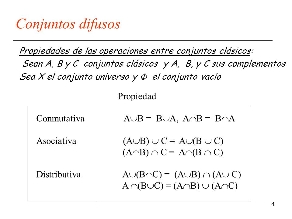 4 Propiedades de las operaciones entre conjuntos clásicos: Sean A, B y C conjuntos clásicos y A, B, y C sus complementos Sea X el conjunto universo y el conjunto vacío Propiedad Conmutativa A B = B A, A B = B A Asociativa (A B) C = A (B C) (A B) C = A (B C) Distributiva A (B C) = (A B) (A C) A (B C) = (A B) (A C) Conjuntos difusos