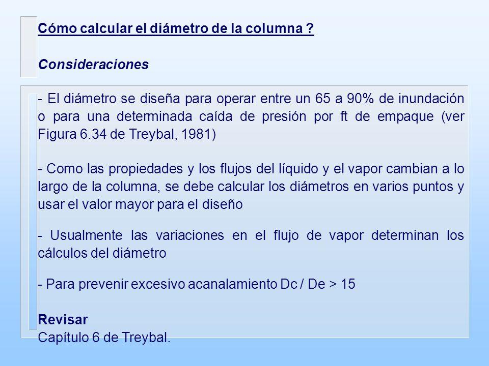 Cómo calcular el diámetro de la columna ? Consideraciones - El diámetro se diseña para operar entre un 65 a 90% de inundación o para una determinada c