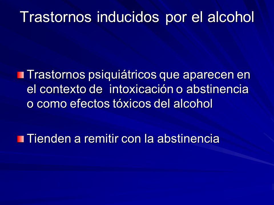 Trastornos inducidos por el alcohol Trastornos psiquiátricos que aparecen en el contexto de intoxicación o abstinencia o como efectos tóxicos del alcohol Tienden a remitir con la abstinencia